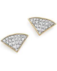 Adina Reyter - Sterling Silver And 14k Yellow Gold Pavé Diamond Folded Fan Stud Earrings - Lyst
