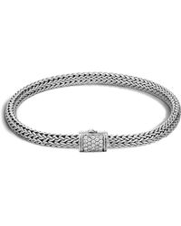 John Hardy - Classic Chain Sterling Silver Extra Small Bracelet With Diamond Pavé - Lyst