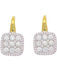 Frederic Sage - Diamond Medium Firenze Cushion Earrings In 18k Yellow & White Gold - Lyst