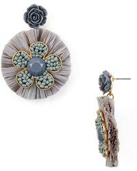 Aqua - Raffia Floral Drop Earrings - Lyst
