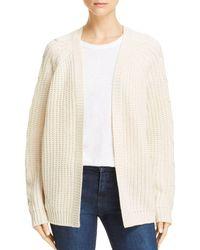 Aqua - Textured Cable Knit Cardigan - Lyst