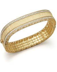 Roberto Coin - 18k Yellow Gold And Diamond Satin Princess Bangle - Lyst