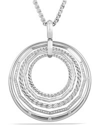 David Yurman - Stax Sterling Silver Large Pendant Necklace With Diamonds - Lyst