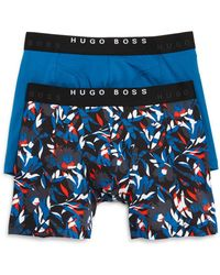 BOSS Two-pack Of Boxer Briefs With Logo Waistbands - Blue