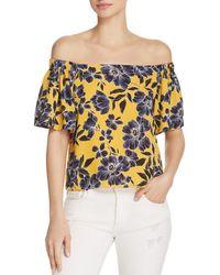 Olivaceous - Floral Print Off-the-shoulder Top - Lyst