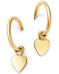 Moon & Meadow 14k Yellow Gold Small Dangling Heart Hoop Earrings - Metallic
