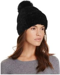 Maximilian - Mink Fur Hat With Fox Fur Pom-pom - 100% Bloomingdale's Exclusive - Lyst