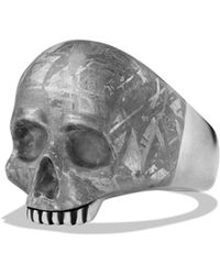 David Yurman - Skull Ring With Carved Meteorite - Lyst
