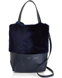 Alice.D - Small Leather & Shearling Tote - Lyst