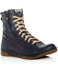 DIESEL - Men's Tatradium Valadium Leather Trainer Boots - Lyst
