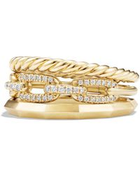David Yurman - Stax Narrow Ring With Diamonds In 18k Gold - Lyst