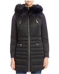 Maximilian - Fox Fur Trim Hooded Down Coat - Lyst