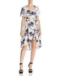 Olivaceous - Ruffled Floral Print Wrap Dress - Lyst