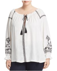 Lucky Brand - Bai Embroidered Boat Neck Peasant Top - Lyst