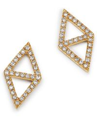 KC Designs - 14k Yellow Gold Double Triangle Diamond Earrings - Lyst