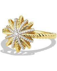 David Yurman - Starburst Ring With Diamonds In Gold - Lyst
