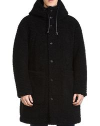 DSquared² - Hooded Faux Shearling Coat - Lyst