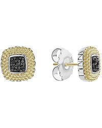Lagos - 18k Yellow Gold & Sterling Silver Diamond Lux Black Diamond Square Earrings - Lyst