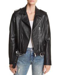 Aqua - Belted Leather Moto Jacket - Lyst