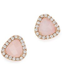Meira T - 14k Rose Gold Pink Opal And Diamond Stud Earrings - Lyst
