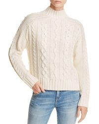 Aqua - Embellished Cable-knit Sweater - Lyst