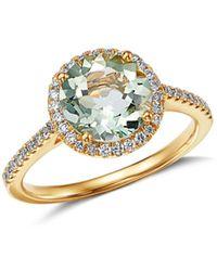 Kiki McDonough - 18k Yellow Gold Grace Round Green Amethyst & Diamond Ring - Lyst