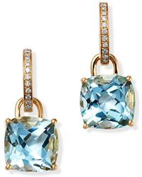 Kiki McDonough - 18k Yellow Gold Classics Cushion-cut Blue Topaz & Diamond Drop Earrings - Lyst