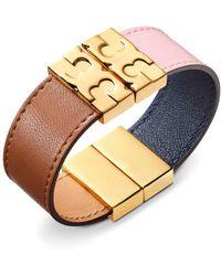Tory Burch - Color-block Reversible Leather Bracelet - Lyst