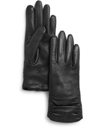 Fownes - Metisse Ruched Leather Tech Gloves - Lyst