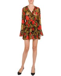 bc615014d6 The Kooples Fireworks Flowers Printed Pussy Bow Silk Dress in Black ...