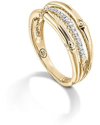 John Hardy - Bamboo 18k Yellow Gold Diamond Pavé Ring - Lyst