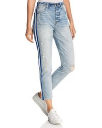 Pistola - Nico Striped Distressed Straight-leg Jeans In Walk The Line - Lyst