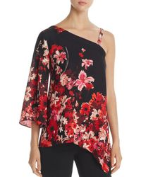 Status By Chenault - Asymmetric Floral Print Top - Lyst