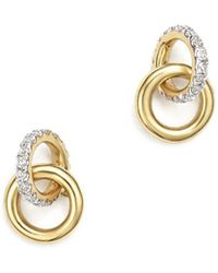 Adina Reyter - 14k Yellow Gold Pavé Diamond Interlocking Loop Stud Earrings - Lyst