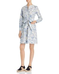 f56921a927 Lyst - Tory Burch Corded Cotton linen Palm-print Dress in White