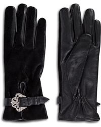 The Kooples - Velvet And Leather Gloves - Lyst