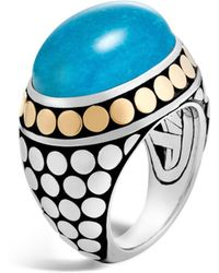 John Hardy - Sterling Silver And 18k Bonded Gold Dot Dome Ring With Turquoise - Lyst