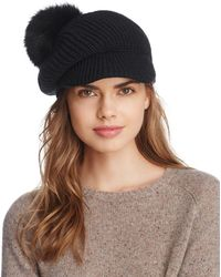 Echo - Fox Fur Pom Gibson Girl Hat - Lyst