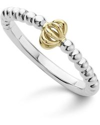 Lagos - Caviar Icon 18k Gold And Sterling Silver Fluted Bead Stacking Ring - Lyst