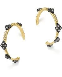 Armenta - Blackened Sterling Silver And 18k Yellow Gold Old World Cravelli Cross Diamond Hoop Earrings - Lyst