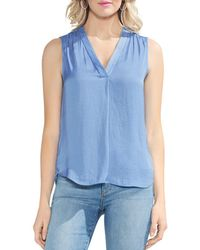 Vince Camuto - V-neck Rumple Satin Blouse - Lyst