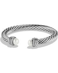 David Yurman - Crossovertm Bracelet With Pearls And Diamonds - Lyst