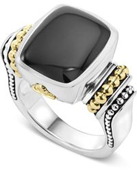 Lagos - 18k Gold And Sterling Silver Medium Onyx Ring - Lyst