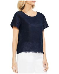 Vince Camuto - Frayed Linen Top - Lyst