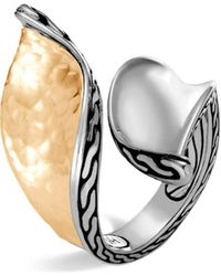 John Hardy - Sterling Silver & 18k Bonded Gold Classic Chain Hammered Bypass Ring - Lyst