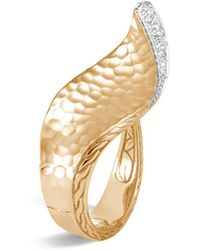 John Hardy - 18k Yellow Gold Classic Chain Hammered Pavé Diamond Wave Ring - Lyst