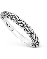 Lagos - Sterling Silver Caviar Beaded Stacking Ring - Lyst