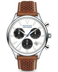 Movado - 43mm Heritage Calendoplan Chronograph Watch With Perforated Leather Strap - Lyst