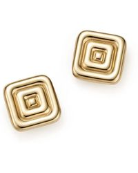 Bloomingdale's - 14k Yellow Gold Square Ribbed Stud Earrings - Lyst