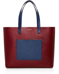 Olivia Clergue - Marceline Color Block Pocket Leather Tote - Lyst